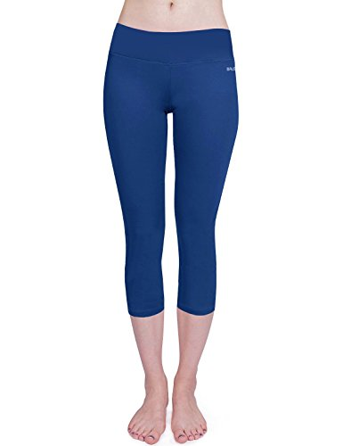Baleaf Damen Yoga Sport Hose Workout Training CapriLeggings Innentasche Blau Größe XL -