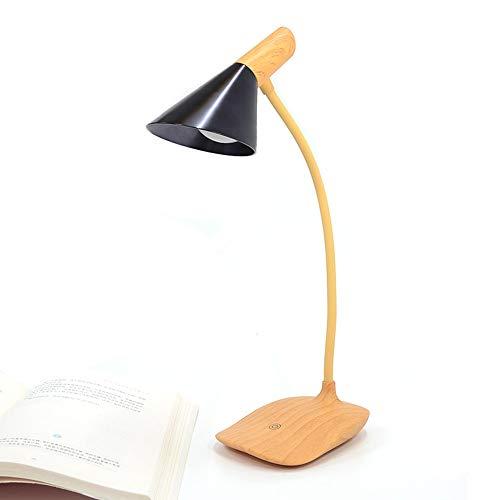 AOKARLIA USB Tischlampen Student Leselicht, Kreativ Holzmaserung Nachttischlampe LED Nachtlicht Augenschutz-Serie,Black 391 Serie
