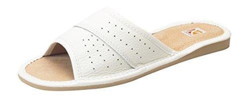 Damen Komfort Hausschuhe, Huttenschuhe, 100% Echtes Leder, Innenmaterial Leder Weiß