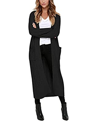 Aleumdr Womens Cable Knit Long Cardigan Side Pockets Warm Coat Pullover Sweater