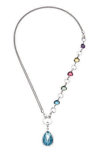 JEWELS BY LEONARDO DARLIN\'S Damen-Set-Halskette Variato, Edelstahl mit Farbglassteinen, Tropfenanhänger mit blauem Glasstein, Länge 650 mm, 015480