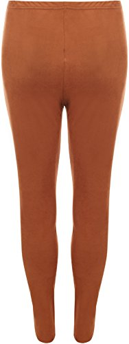 WearAll - Femmes Daim Regardez Plein Longueur Étendue Pantalon Pantalon Jambières - Pantalons - Femmes - Tailles 40--54 Rouille