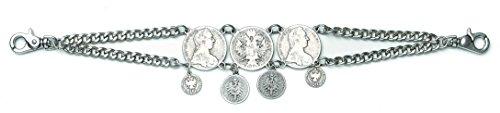 Münzen Charivari Doppelkette 7 Taler Trachtenschmuck Schmuck Tracht Dirndl ca. 44 cm Herren Damen silber antik (Münze Verziert)