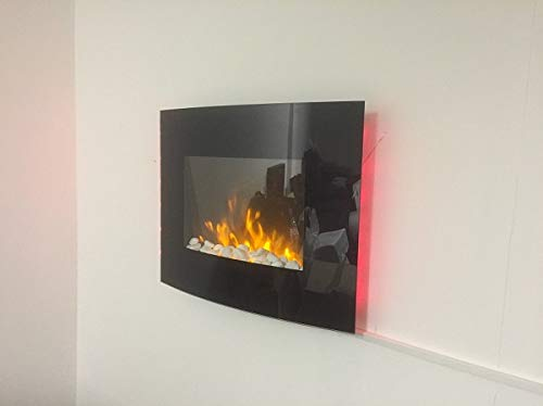 1 8kw Black Curved Glass Screen Wall Mounted Fire Flame Effect