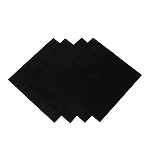 zhouba 4PCS quadratisch Folie Gasherd Displayschutzfolie rutschsicher Wiederverwendbare einfach zu reinigen Schutz Pad Einheitsgröße Schwarz - In Range Gas Folie