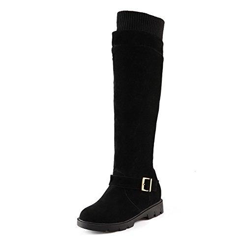 VogueZone009 Damen Hoch-Spitze Ziehen auf Niedriger Absatz Stiefel mit Schnalle, Schwarz, 39