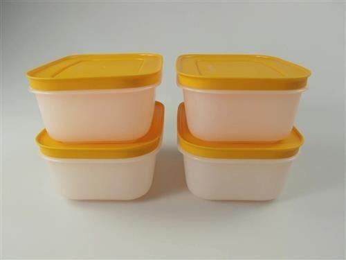TUPPERWARE Gefrier-Behälter Eis-Kristall 450ml weiß-orange Eiskristall (4) 30938