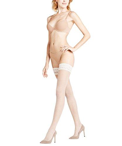 FALKE Damen Stay-Ups Shelina Decorative Lace 12 DEN, Ultra-Transparente, 1 Stück, Elfenbein (Champagne 2579), Größe: 10.5-11