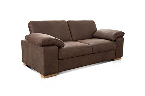 Cavadore 3-Sitzer Sofa Ventere / 3er Couch in Wildlederoptik / 200 x 86 x 100 cm (BxHxT) / Braun