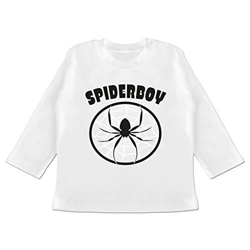 Karneval und Fasching Baby - Spiderboy - 6-12 Monate - Weiß - BZ11 - Baby T-Shirt Langarm