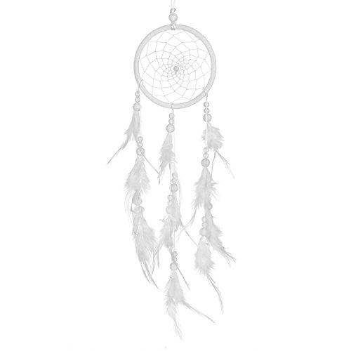 DonDon Traumfänger für Gute Träume mit Perlen und echten Federn weiß Ø 11 cm