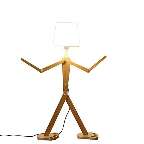 OOFAY LIGHT Bodenständer Leuchten Verstellbare Eckboden Lampe Hölzerne Schwenkarm Lampen,White (Hölzerne Lampe)