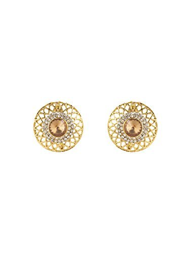 INAYA Brass Crystal and Yellow Gold Plated Earring Set with Golden Chaton Stone, 1 pair  available at amazon for Rs.129