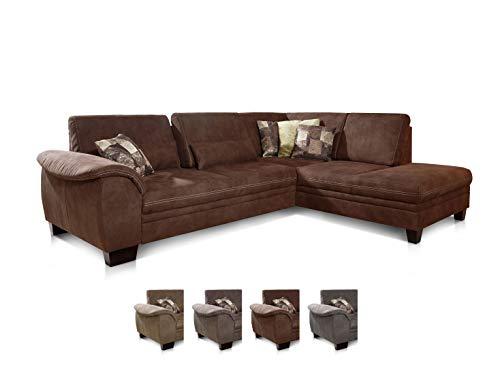 CAVADORE Ecksofa Hussum mit Ottomane rechts / Große Couch mit Federkern im Landhausstil / Inkl. verstellbarer Sitztiefe  / 269 x 90 x 219 / Dunkelbraun