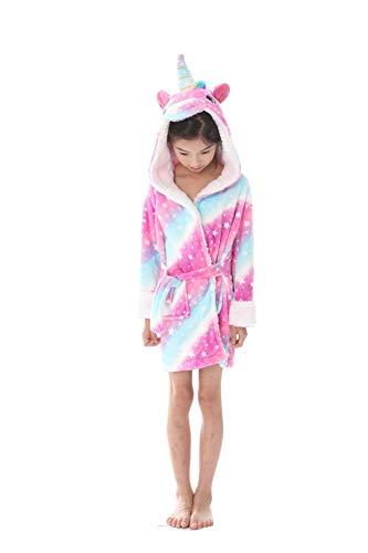 Tooplab Kinder Unicorn Kapuzen Robe Coral Nachtwäsche weichen bequemen Schlaf Bademantel