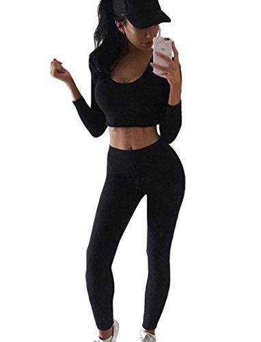 Minetom Damen 2 Stücke Set Outfit Sport Yoga Fitness Bodycon Slim Jogginganzug U-Ausschnitt Langarmhemd Jumpsuit Crop Top + Leggings Schwarz DE 38