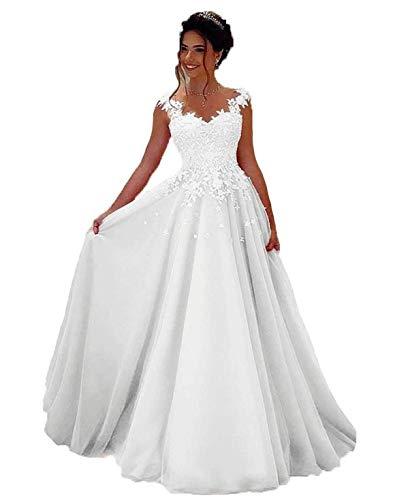 NUOJIA Damen Prinzessin Ballkleider Lange mit Appliques Party Kleid Weiß 36 (Brautkleider)