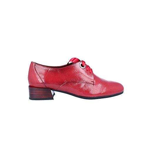 HISPANITAS HI99215, Zapatos acordonados de Tacon Medio, para Mujer, Color Charol Rojo. - Cuero Talla...