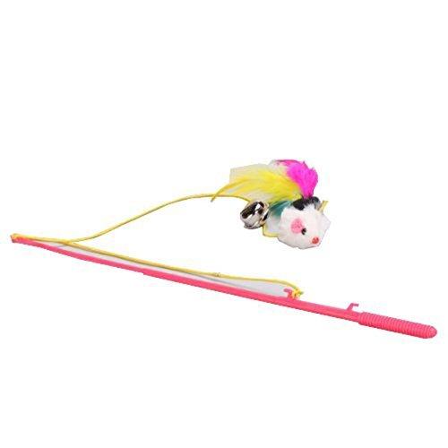 winomo Interaktives Spielzeug für Kätzchen Feather Maus Teaser Dangler Rod (zufällige Farbe)