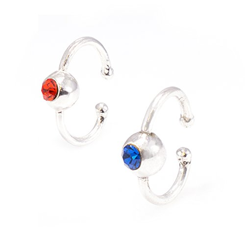 LuxeModz Pair Faux Belly Clips Cz Blue Red Jewels- Non- Pierced