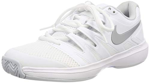 Nike Damen W AIR Zoom Prestige HC Tennisschuhe, Mehrfarbig (White/Metallic Silver-Pure Platinum 119), 40 EU (Prestige Nike)