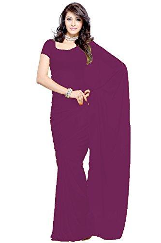 Vivera Women's Georgette Plain Saree(VR_DARK MAJANTA 956)