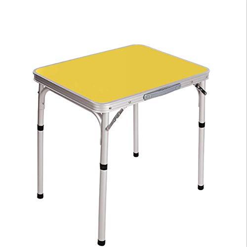 ZMXZMQ Kleiner Klapptisch, Leichtgewichtiger Aluminium-campingtisch Mit Tragegriff,Yellow