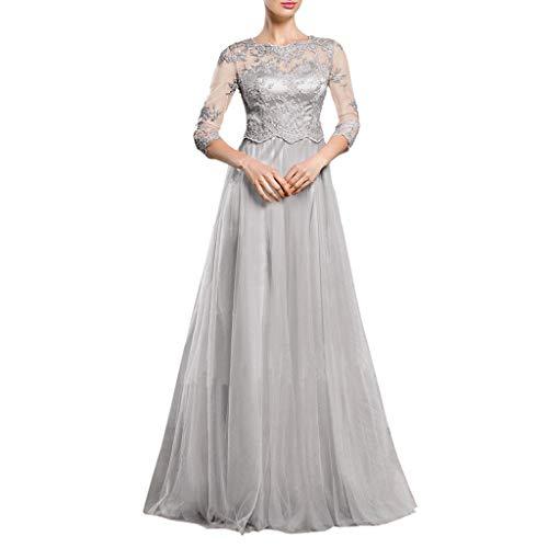 waitFOR Vestiti Donna Elegante Cerimonia Lungo Vestito Donna-Sling Cross Abito da Sposa Elegante da Sera in Pizzo