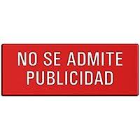 Cartel para Buzon No-Se-Admite-Publicidad | Aluminio 66x25 mm color rojo | Resistente a los rayos UV autoadhesivo No.57056-R