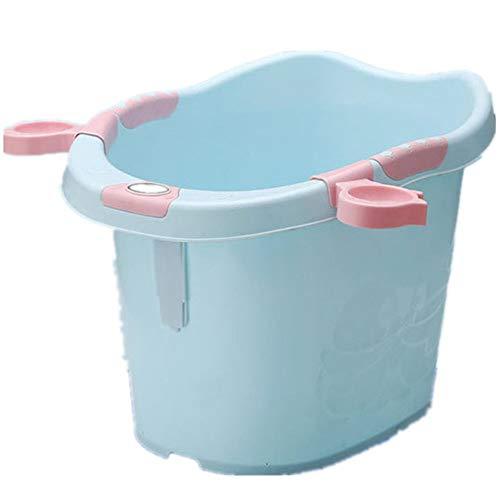 Zweistufige Badewanne Kinder Barrel Temperatur Bad Fass dicken Kunststoff Baby Neugeborenen Schwimmbad, Neugeborenen Dusche Badewanne Blau/Grün/Pink (Farbe : Blau, Größe : Free Size)