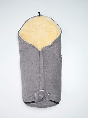 Hochwertiger Lammfell-Fußsack für den Kinderwagen, Lineares Grau