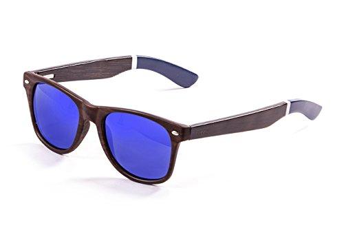 Ocean Beach Sonnenbrille Bambus Dark Frame/Wood Dark White/Blue Arms/Revo Blue Lens