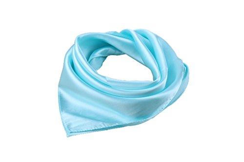Femme OL Foulard carre de profession satin couleur pure 57*57cm bleu clair