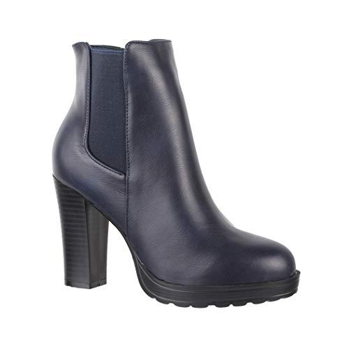 Elara Damen Stiefelette  Trendige Ankle Boots   Chunkyrayan Neu-BK3237 Navy-41
