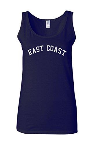 East Coast Novelty White Femme Women Tricot de Corps Tank Top Vest Bleu Foncé