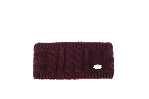 AnJuHoPa strick Stirnband cabel Knit Kopfband Ohrenschutz Haarband mit Fleecefutter Burgundy