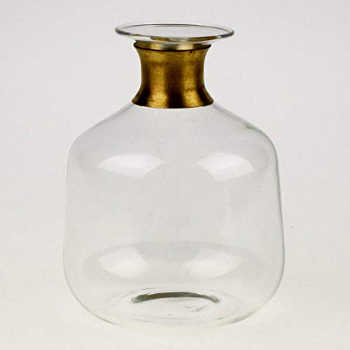 Unbekannt Vase mit Gold Rand am Hals Glas Ø10 cm; H=15 cm Retro Vintage Blumen Tisch Deko
