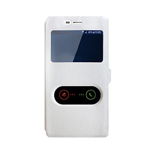 OPPO Joy 3 A11 Hülle, CaseFirst Leder Handyhülle Stoßfest Schutzhülle Brieftasche Hülle Magnet Cover Geldbörse Hülle Anti-kratzer PU Leather Wallet Case mit Supporter (Weiß)