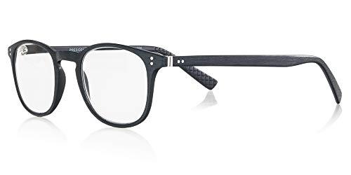 Demel Augenoptik Klassische Lesebrille/Lesehilfe im Holz-Design inkl. Brillenetui und Mikrofasertuch - Kunststofflesehilfe in den Stärken 1,0 bis 3,0 Modell: President (Schwarz, 2.0)