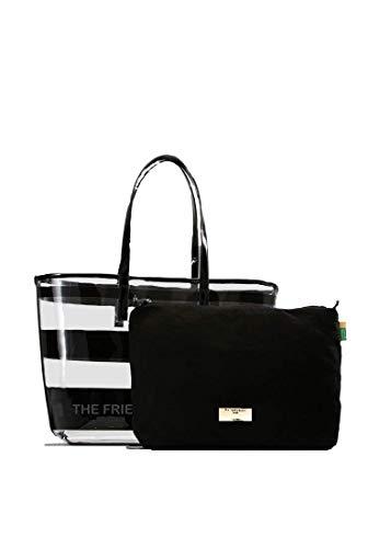 The Friendly Student Damen Handtasche. Durchsichtige Tasche mit Innentasche aus Velour. Bibliothek Tasche für Studenten. Große schwarze Laptoptasche und Reise Organizer. 2in1 Bib bag als Uni tasche. -