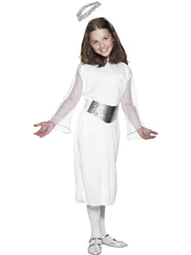 erdbeerclown - Mädchen Kinder Kostüm Engel, Kleid Gürtel und Heiligenschein, Angel Dress with Belt and Halo, perfekt für Weihnachten Karneval und Fasching, 122-134, Weiß