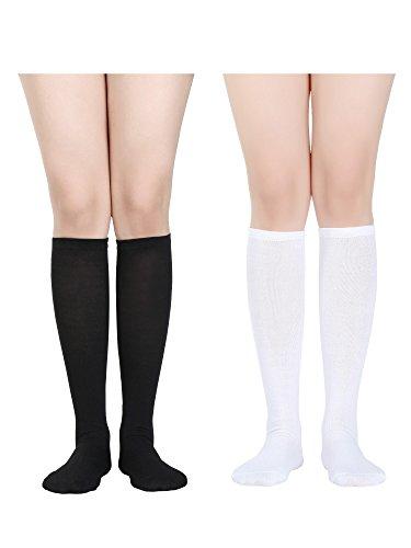 Damen Knie Hohe Socken Weiche Stiefel Socken Cosplay Socken für Party, Halloween, Schule, Eine Größe (Mehrfarbig 3, 2 Packung) (Knie-hohe Stiefel Socken Für)