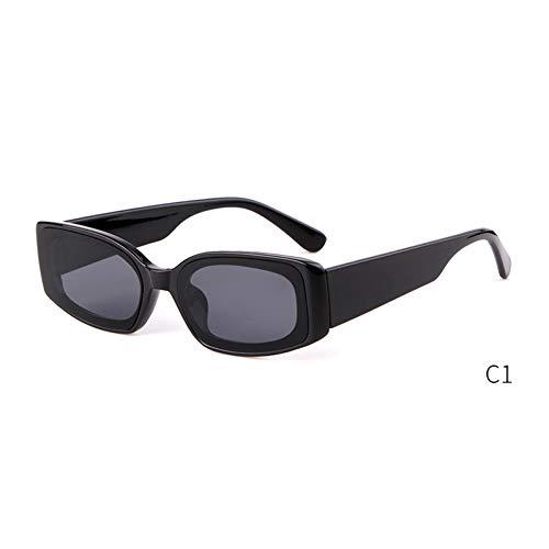 ZRTYJ Sonnenbrille Blaue Sonnenbrille Retro Damen Markendesigner Mutiges Rechteck Schmaler Rahmen 90S Kristall Sonnenbrille Klare Schattierungen