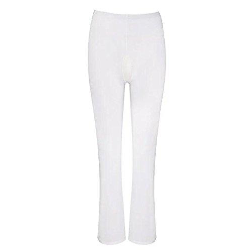 Bottoms Bell Kostüm Weiße - ZILucky Damen Transparente Leggings Pants Bell-Bottom Hosen Reizwäsche Dessous Erotik Unterwäsche Strumpfhose (M, Weiß Ouvert)