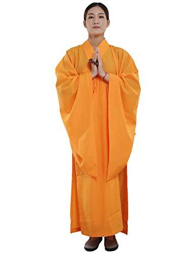 ZooBoo Mönch Buddhist Kostüm Robe - Chinesische Buddhistische Kleidung Kampfkunst Shaolin Wushu Kung Fu Langärmelige Uniform Unisex für Männer Frauen (Gelb, Körpergröße ()