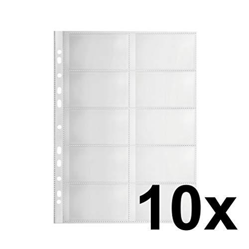 FALKEN Pochette Premium pour 10 cartes de visite en PP, 0,30 mm, pour format A4, chagrine, perforation euro, n'altere pas les documents contenu: 10 pieces (11298775)