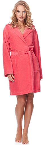 Merry Style Damen Bambusfasern Bademantel MSLL1004 (Coral/Rosa, S)
