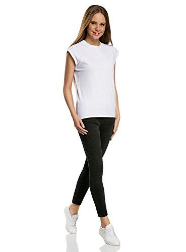 oodji Ultra Donna T-Shirt Basic Dritta con Orlo Grezzo Bianco (1000N)