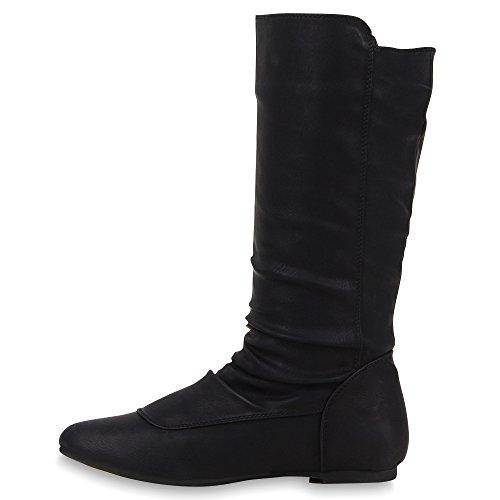 Damen Schuhe Schlupfstiefel Boots Schwarz