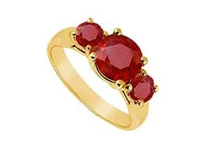 Three Stone Ruby Ring 14K Yellow Gold 1.75 CT TGW